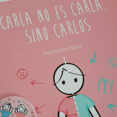 Portada del cuento Carla no es Carla sino Carlos en el que se ve un niñ@ dibujado mitad vestido rosa, mitad pantalones y camiseta azul.