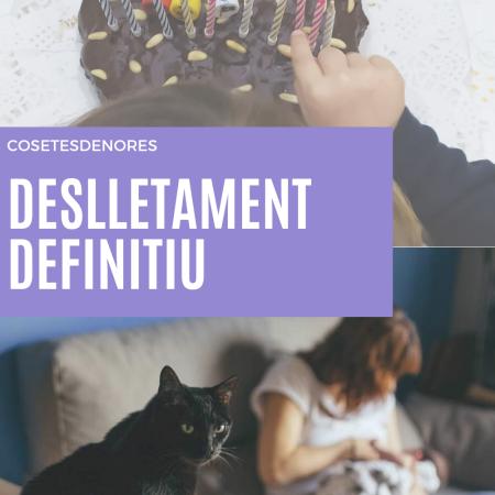 Dalt, nena comptant espelmes del pastís de xocolata amb 16 espelmes. Baix mare lactant i gat negre en primer pla